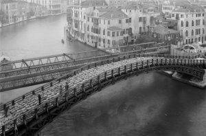 Accademia bridge under construction in Venice Italy