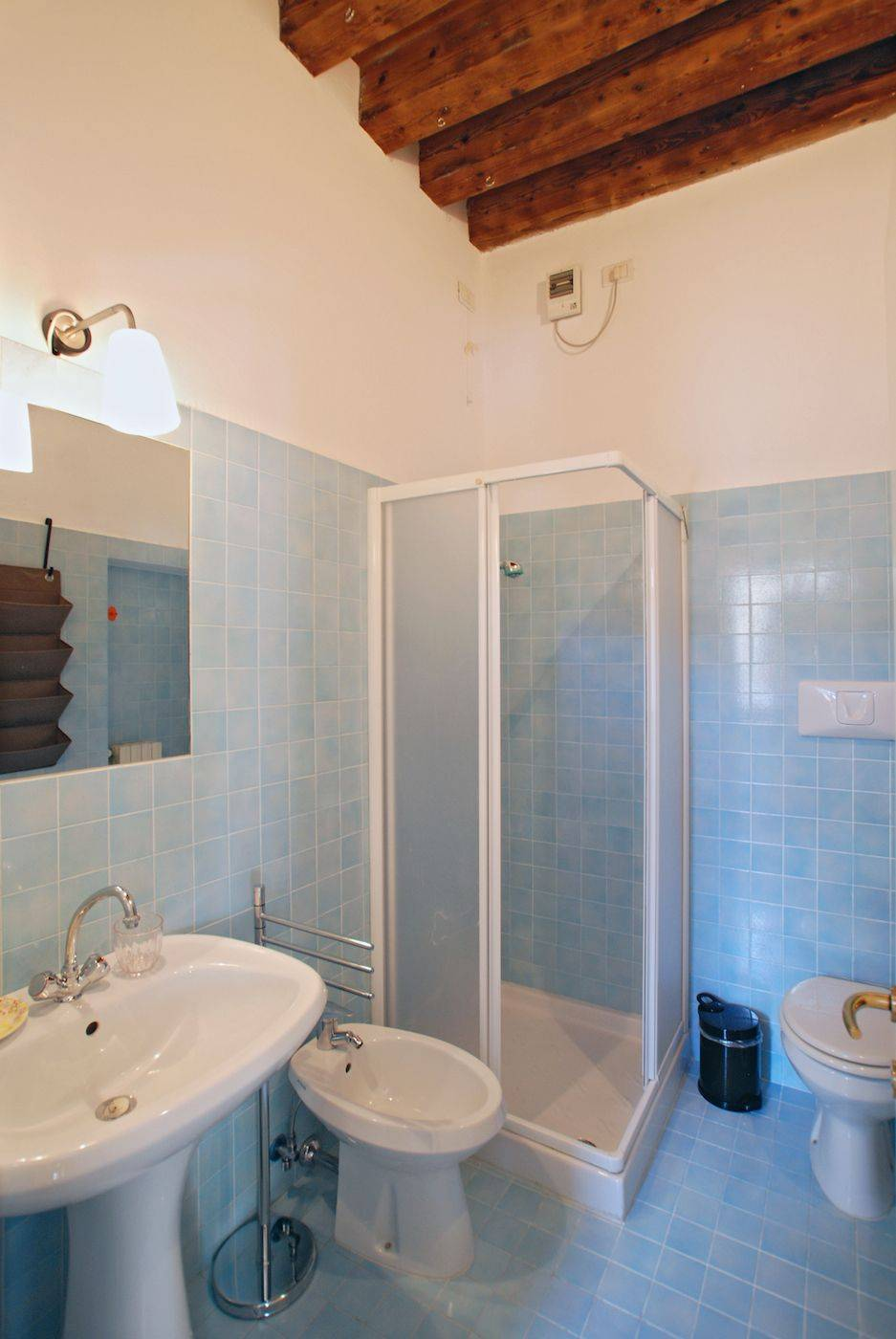 newly restored bathroom with shower