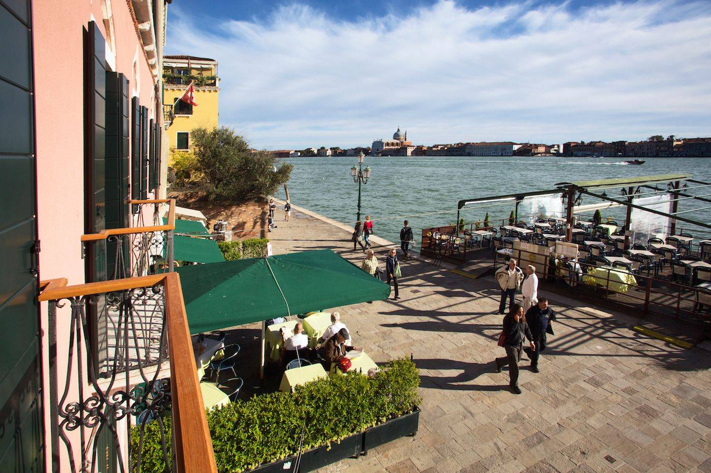 view from the balcony on the Giudecca Canal