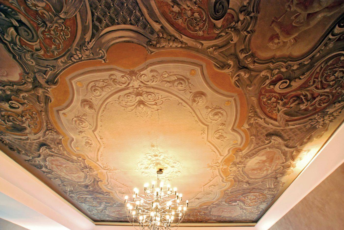 ancient frescoes of the living room ceiling