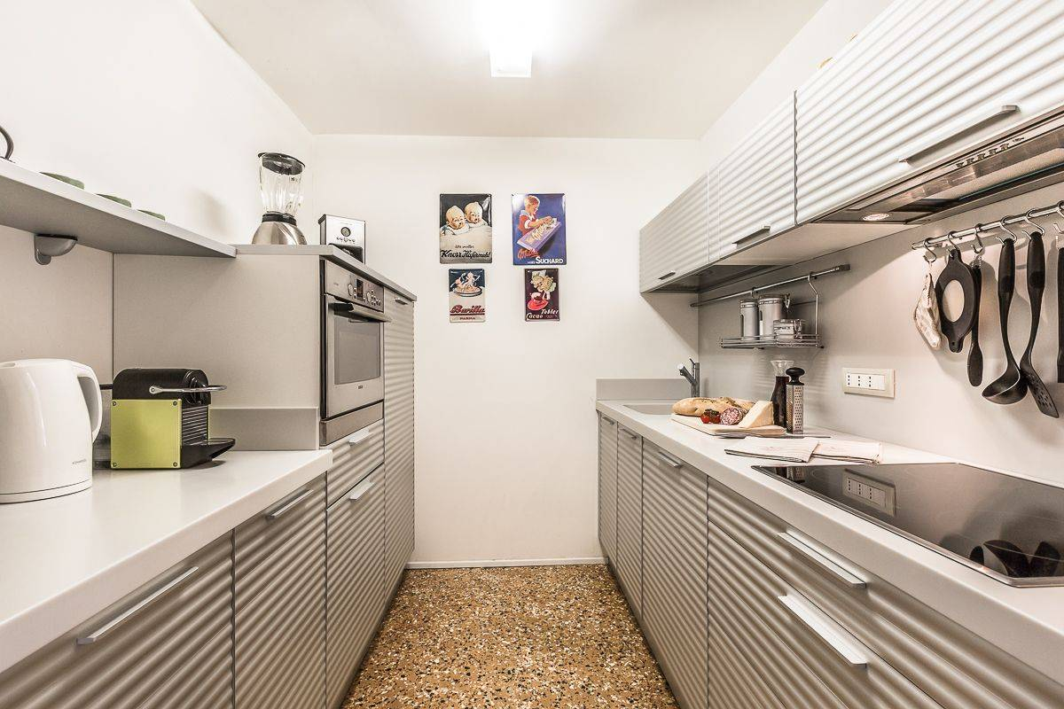 the kitchen is highly technological and functional...