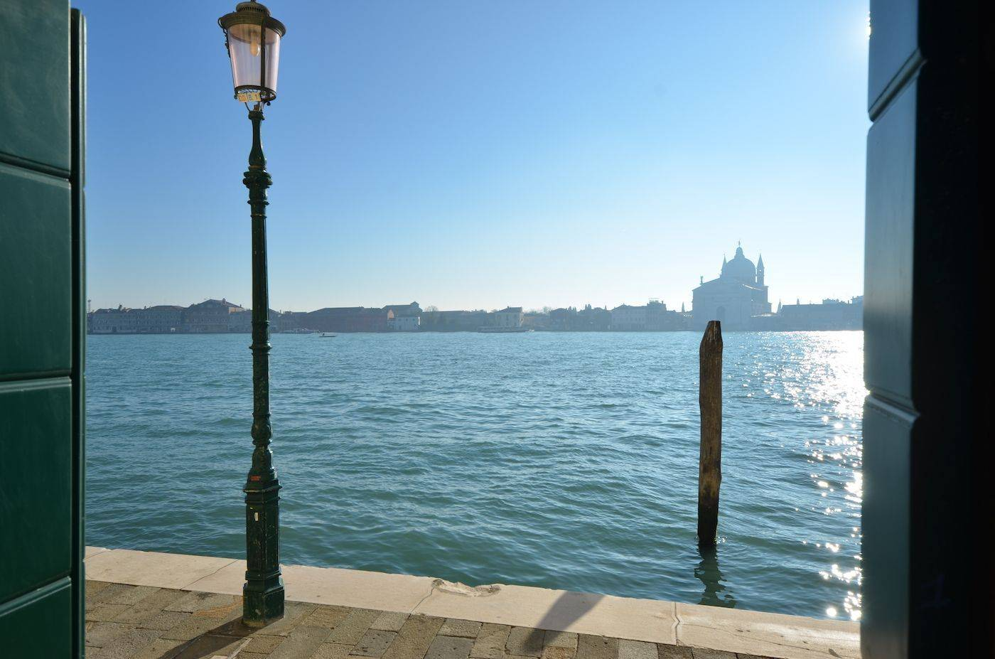 view from the master bedroom of the Palladio apartment on the Giudecca Canal