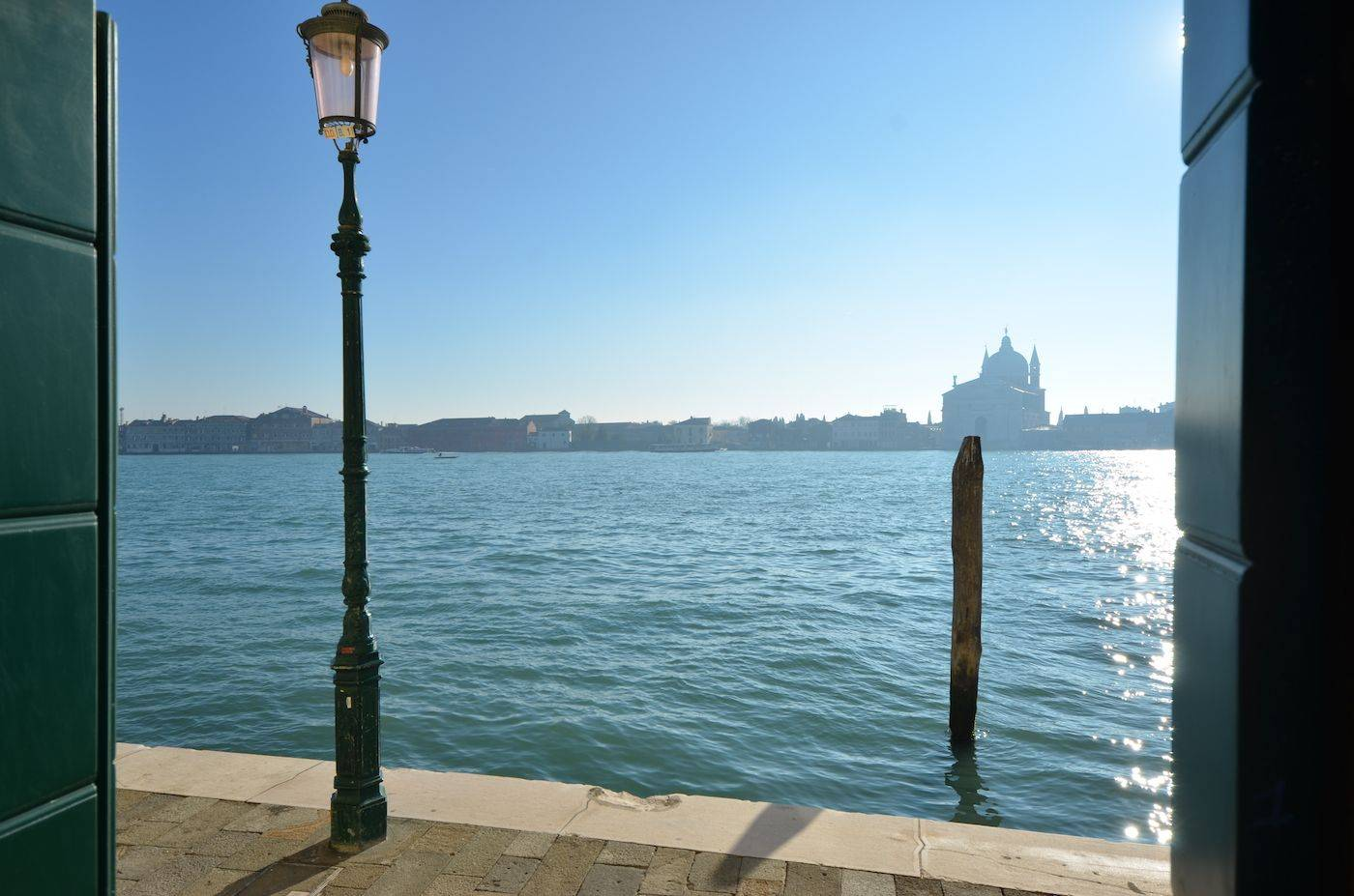 view on the Giudecca Canal from the Palladio apartment living room