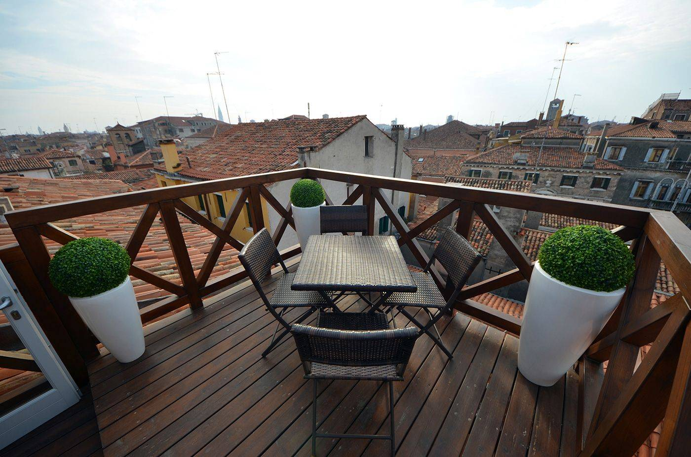 enjoy the view from the private terrace of the Sagredo apartment