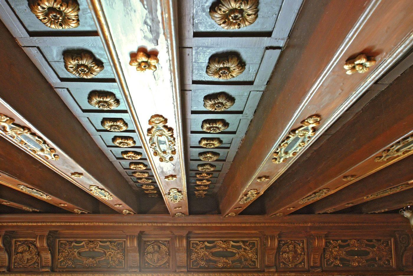 the impressive authentic XVII century wooden ceiling