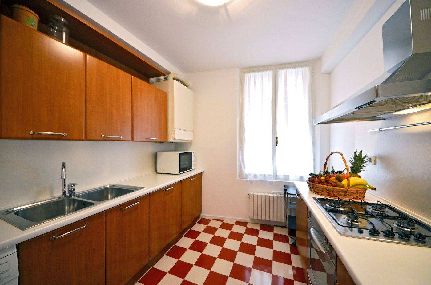 the kitchen has been recently renovated and equipped with new appliances