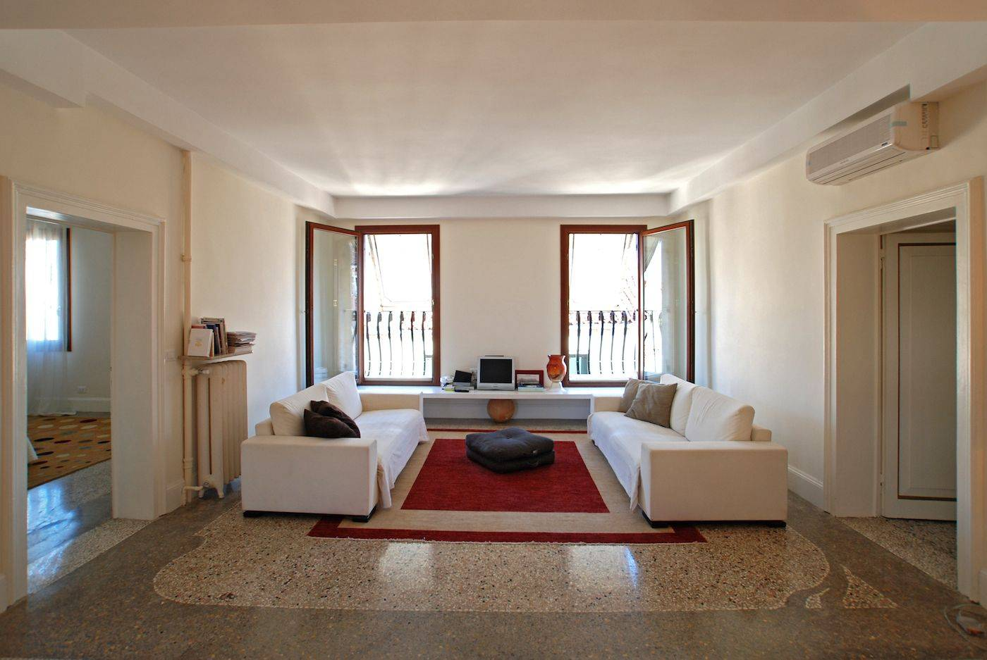 the spacious living room of the Wagner apartment in Venice