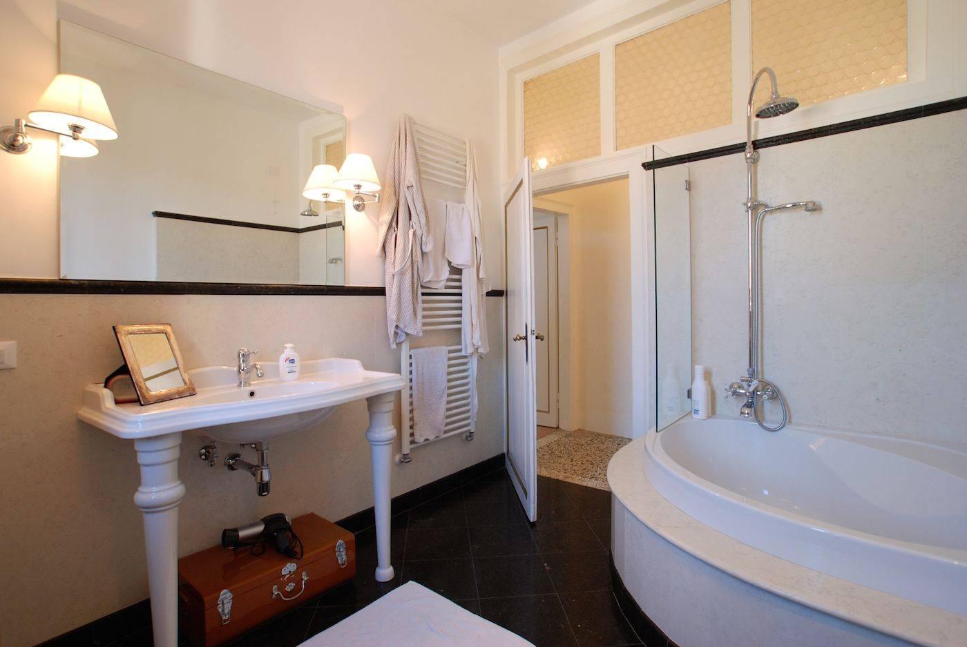 large bathroom with thub