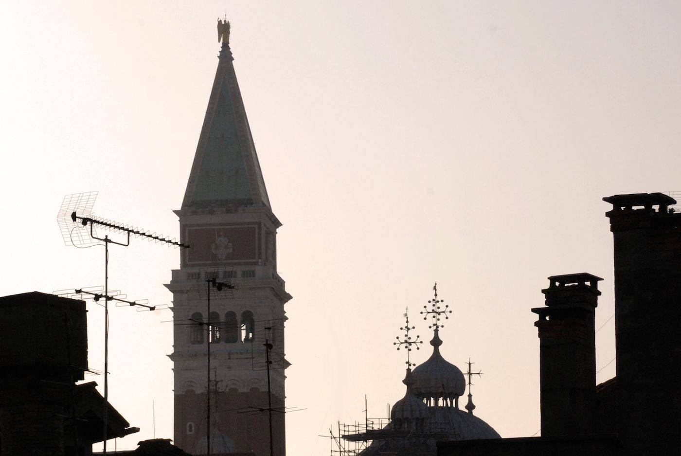 view of San Marco bell tower from the Altana roof-top terrace