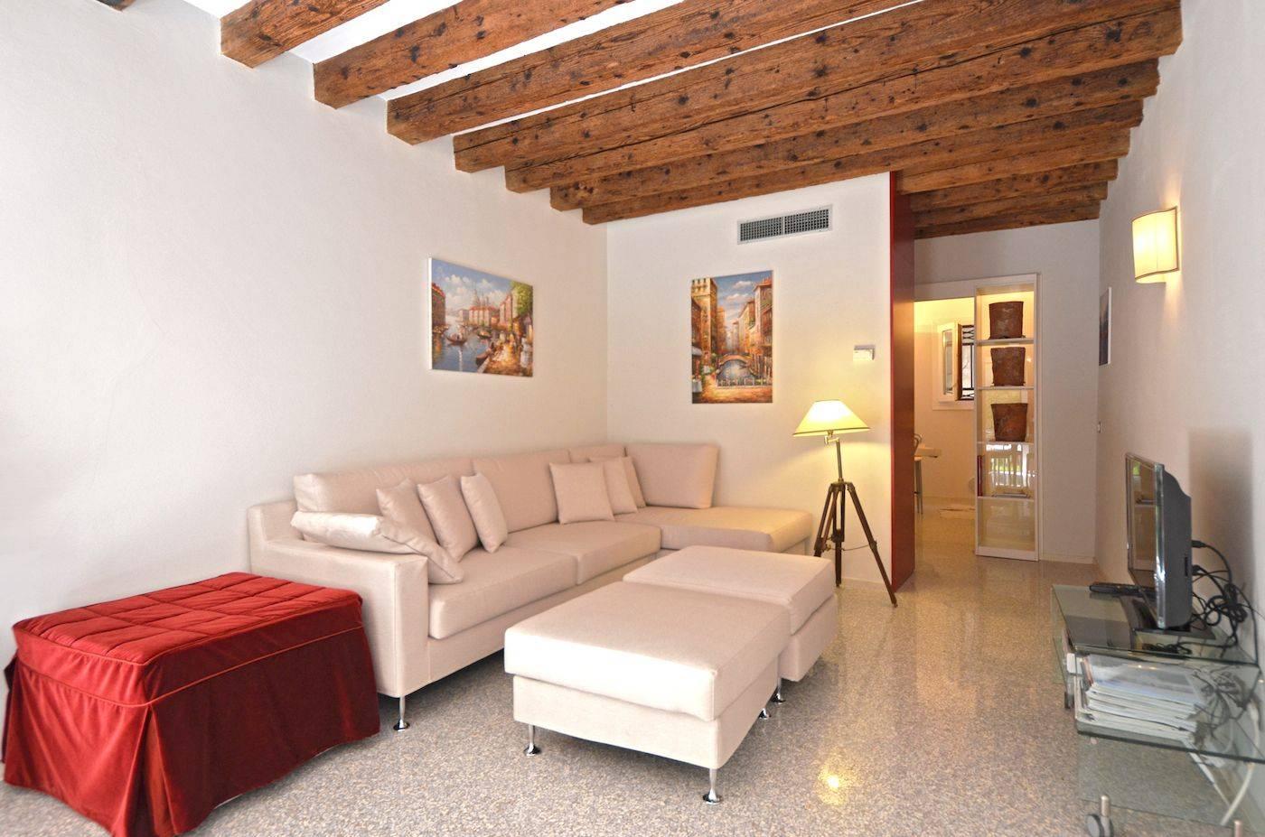 living room of the Palladio Garden apartment