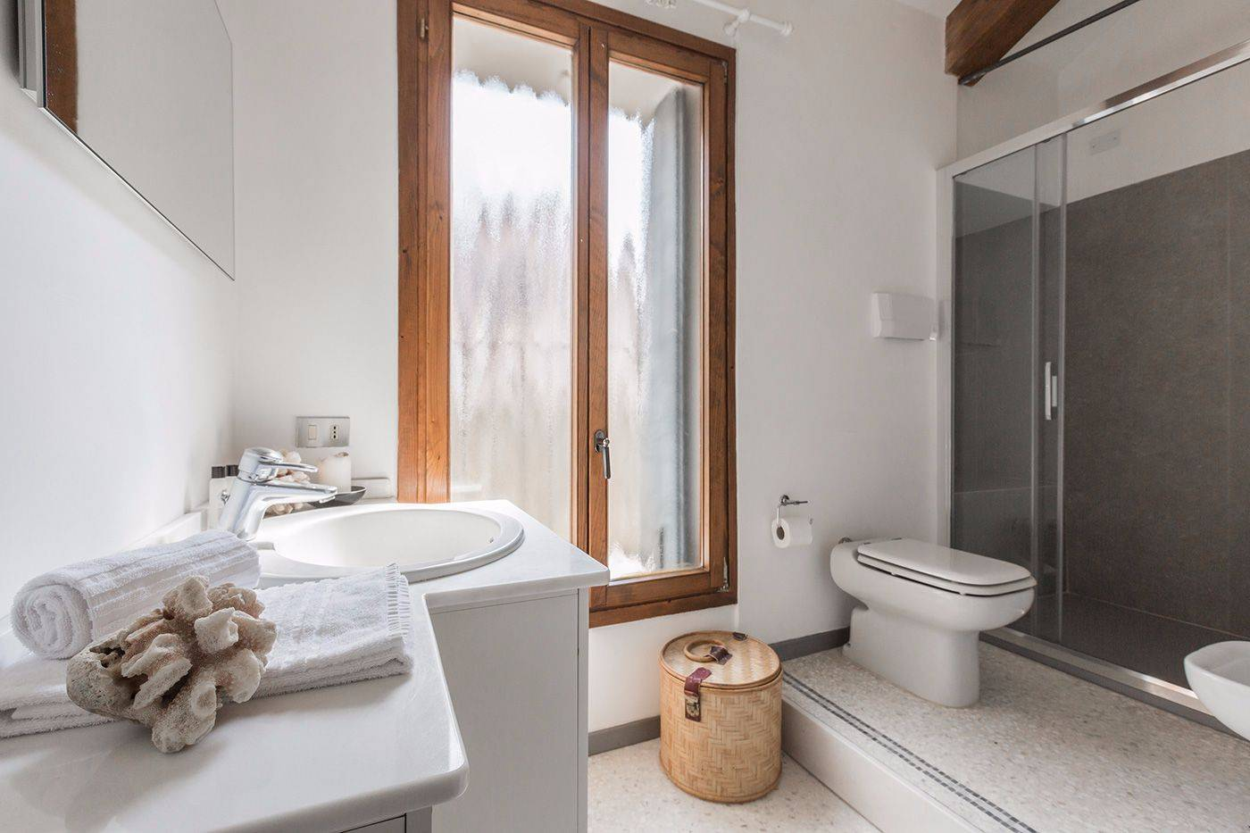 brand new bathroom with large shower cabin