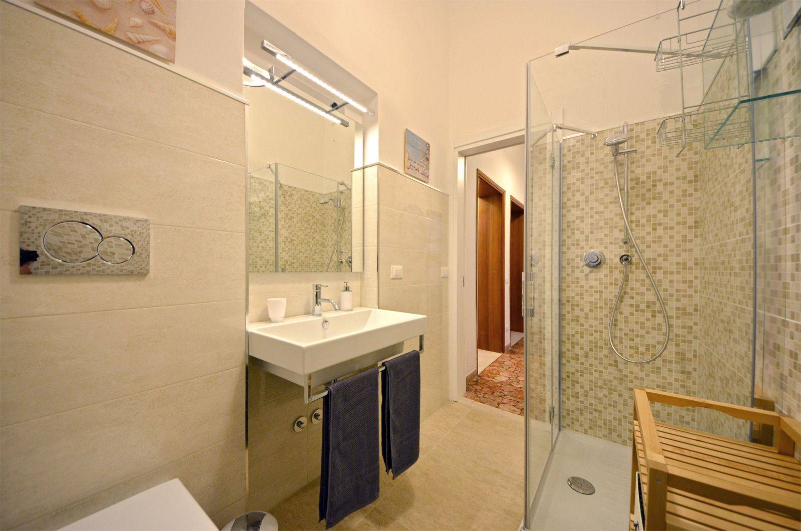 main bathroom with large shower cabin