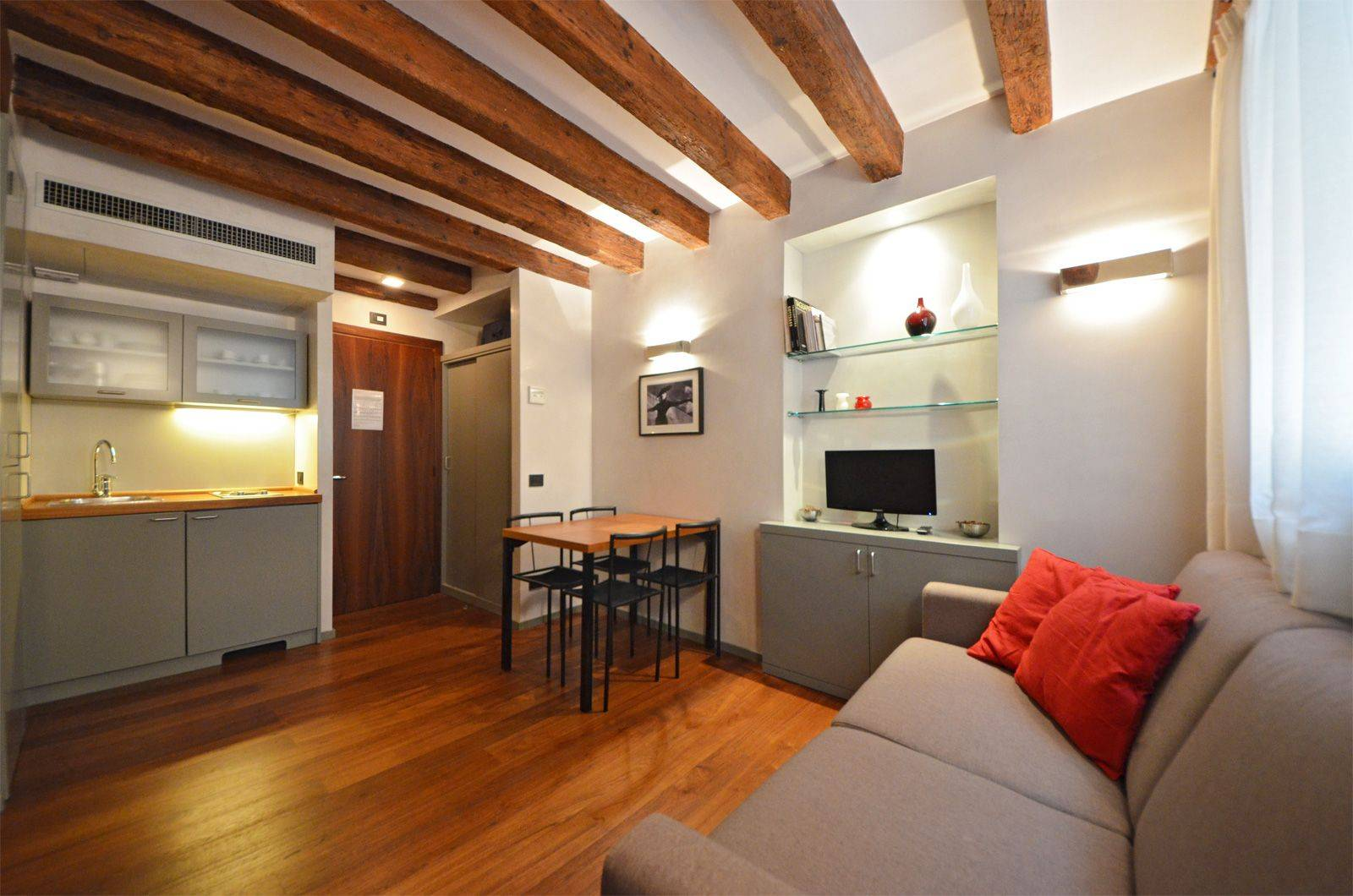 living room of the interconnecting studio apartment