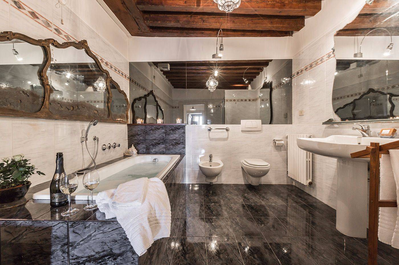 main bathroom with both shower and bathtub