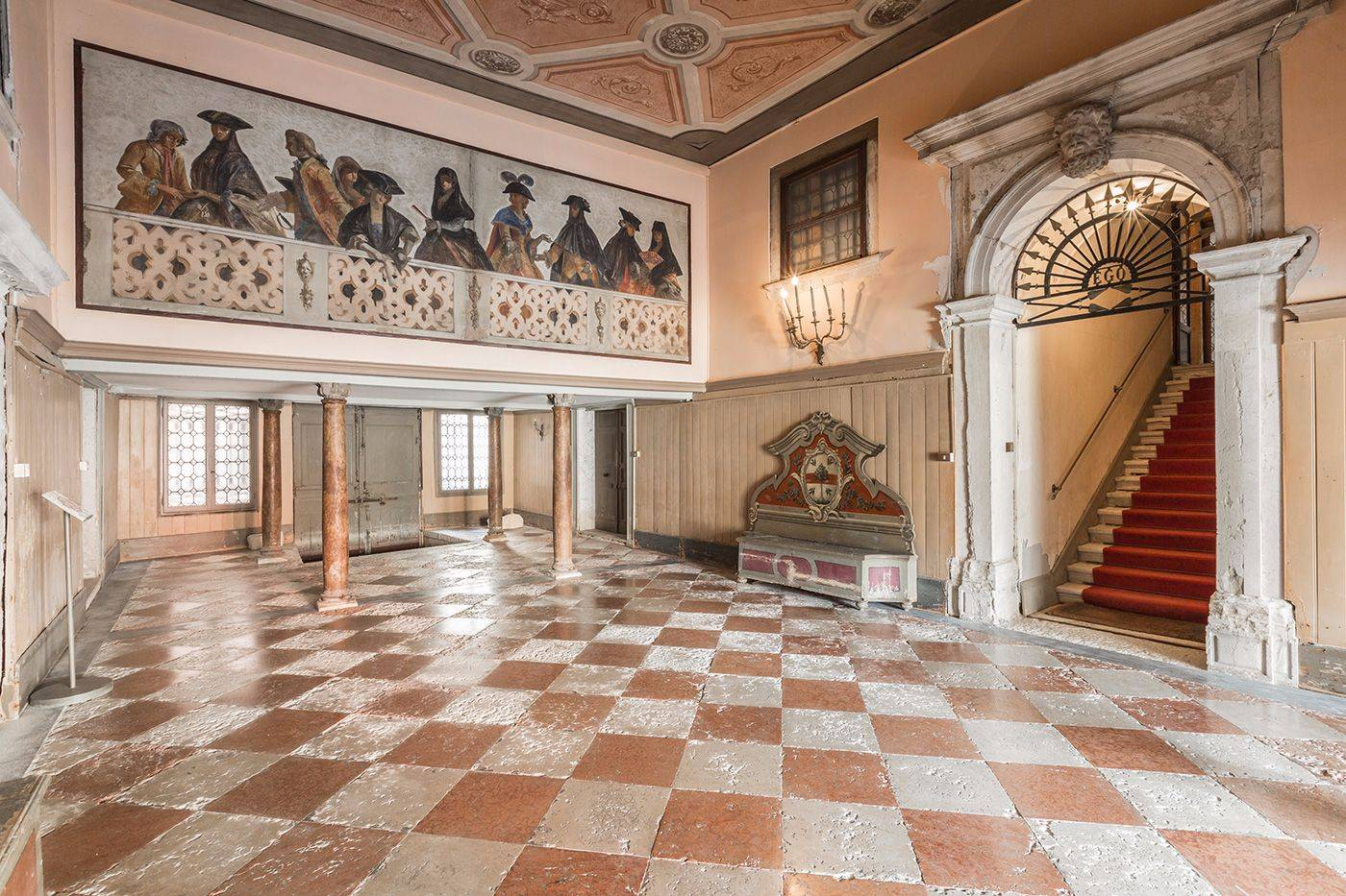 stunning entrance hall of the Palazzo leading to the stairway