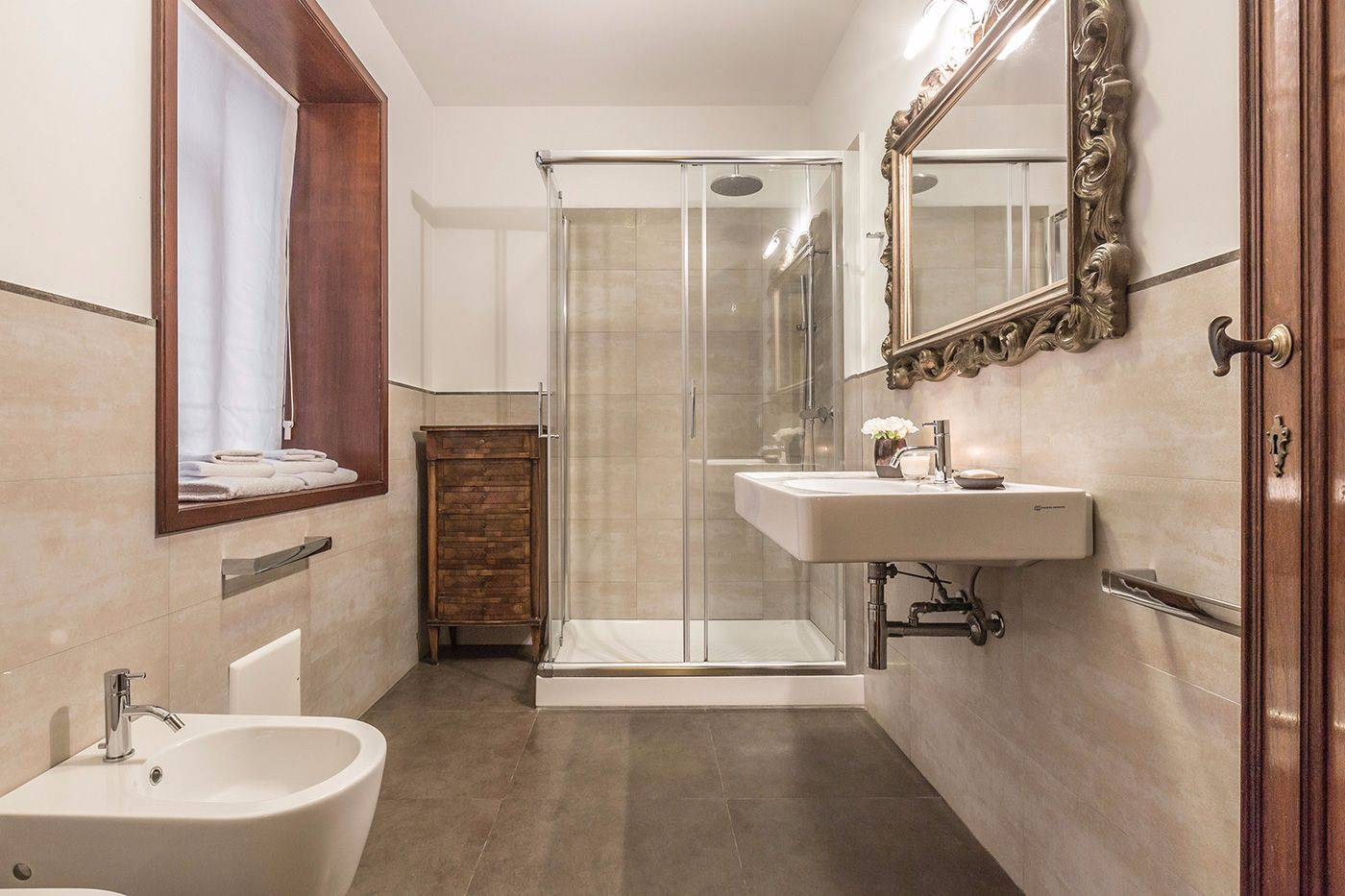 brand new luxury bathroom with large shower cabin