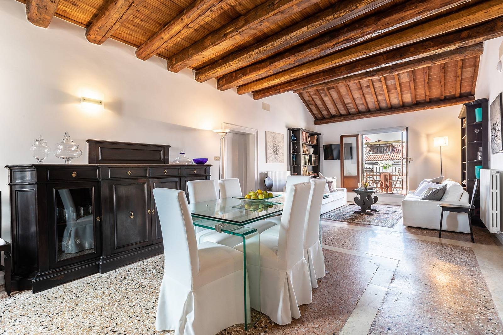 this is a truly Venetian Home with Terrazzo Veneziano flooring and antique wooden beams