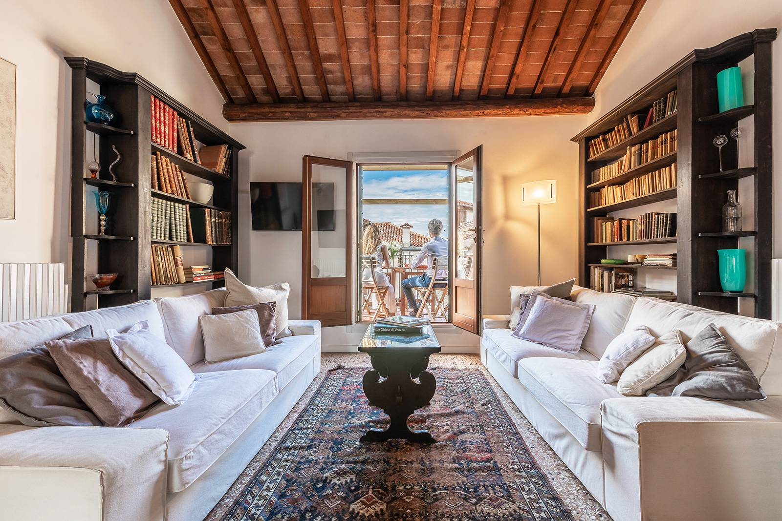living room of the Nabucco apartment with terrace and panoramic view