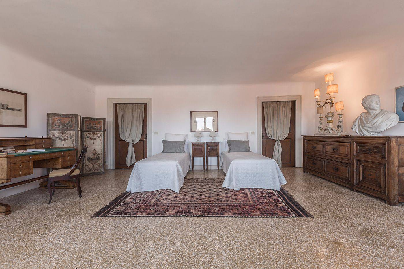 the first bedroom can be prepared with 2 single beds on request