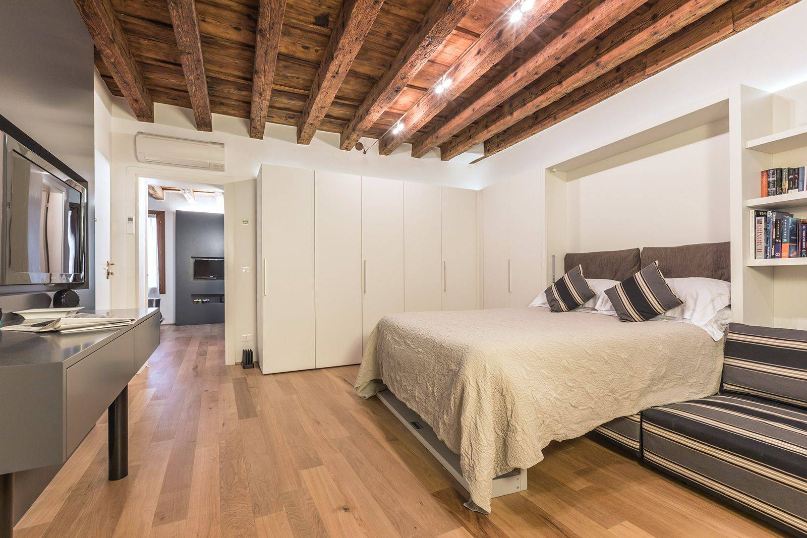 there is plenty of closet and storage space, Wi-Fi, large TV in both rooms...