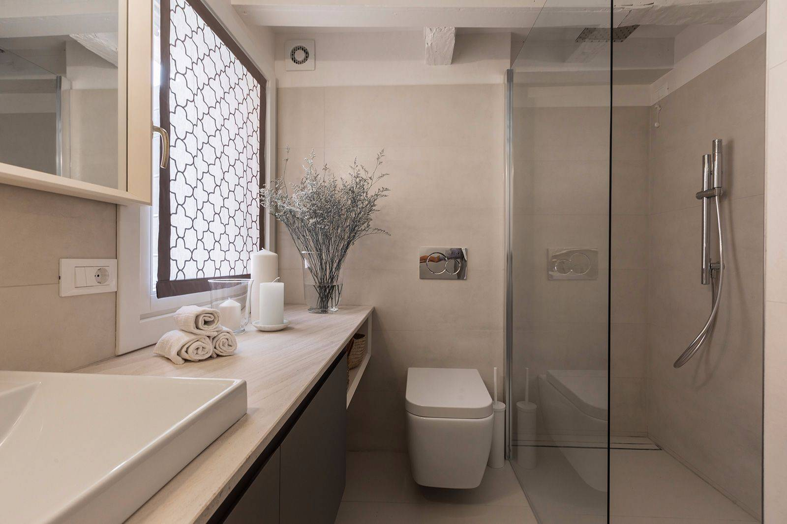 the stylish bathroom will please the most demanding guest