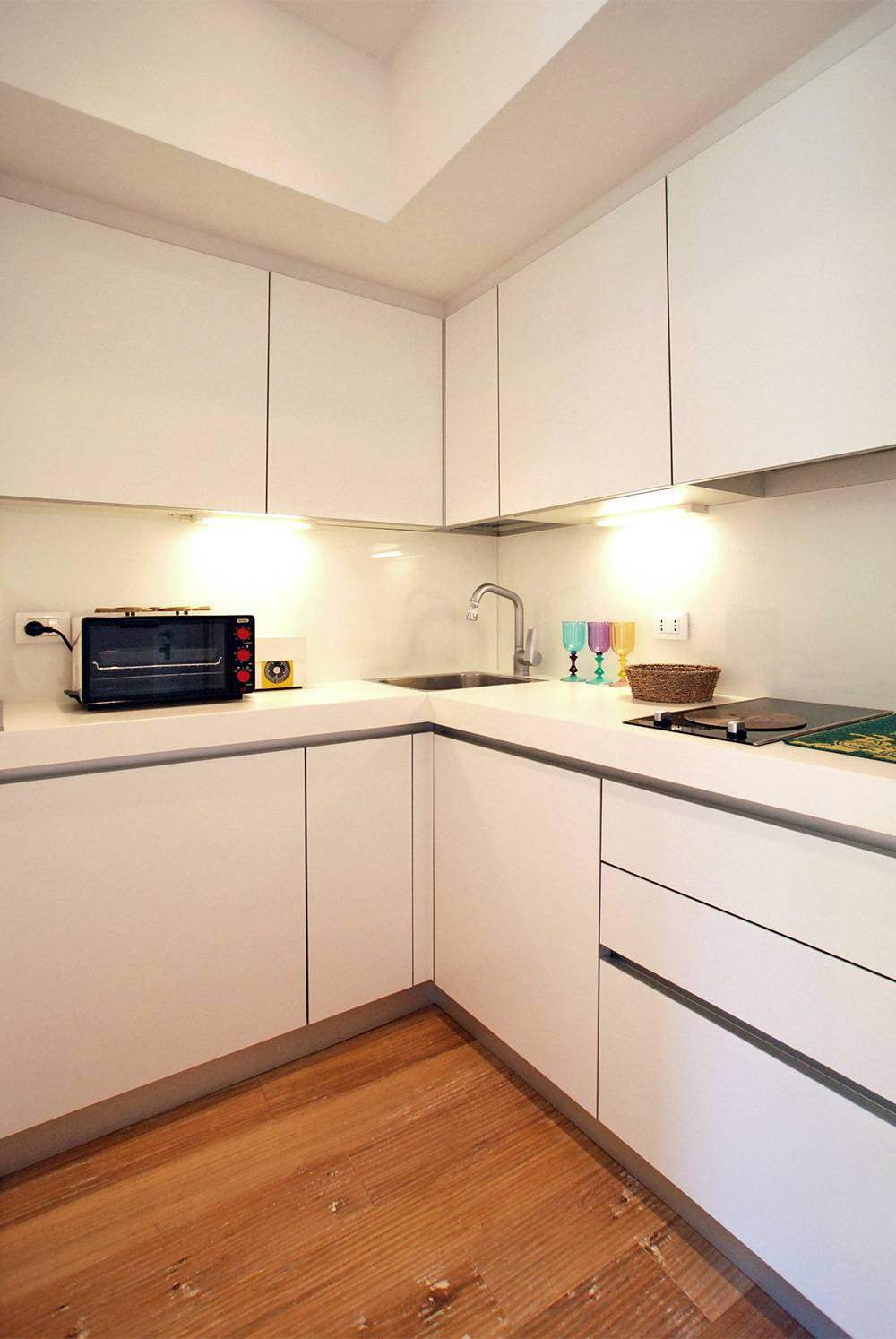 the nice kitchen is compact but functional