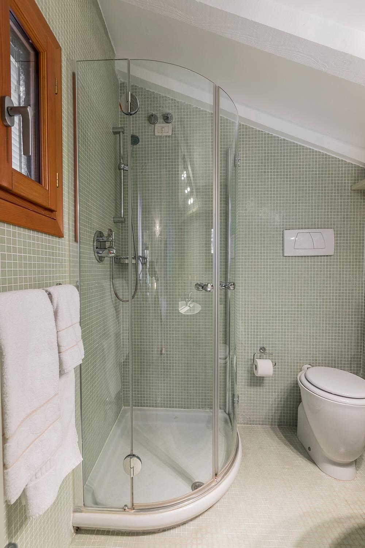 the en-suite bathroom has a shower box