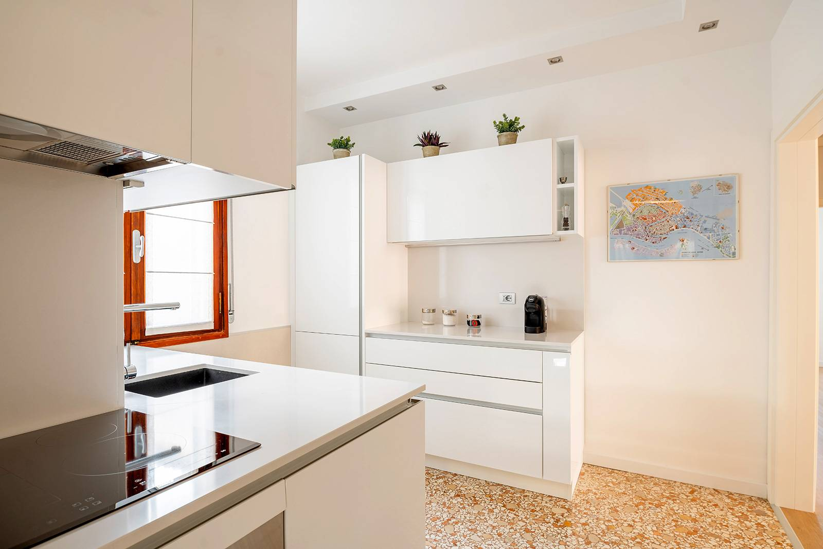 fully equipped and stylish kitchen