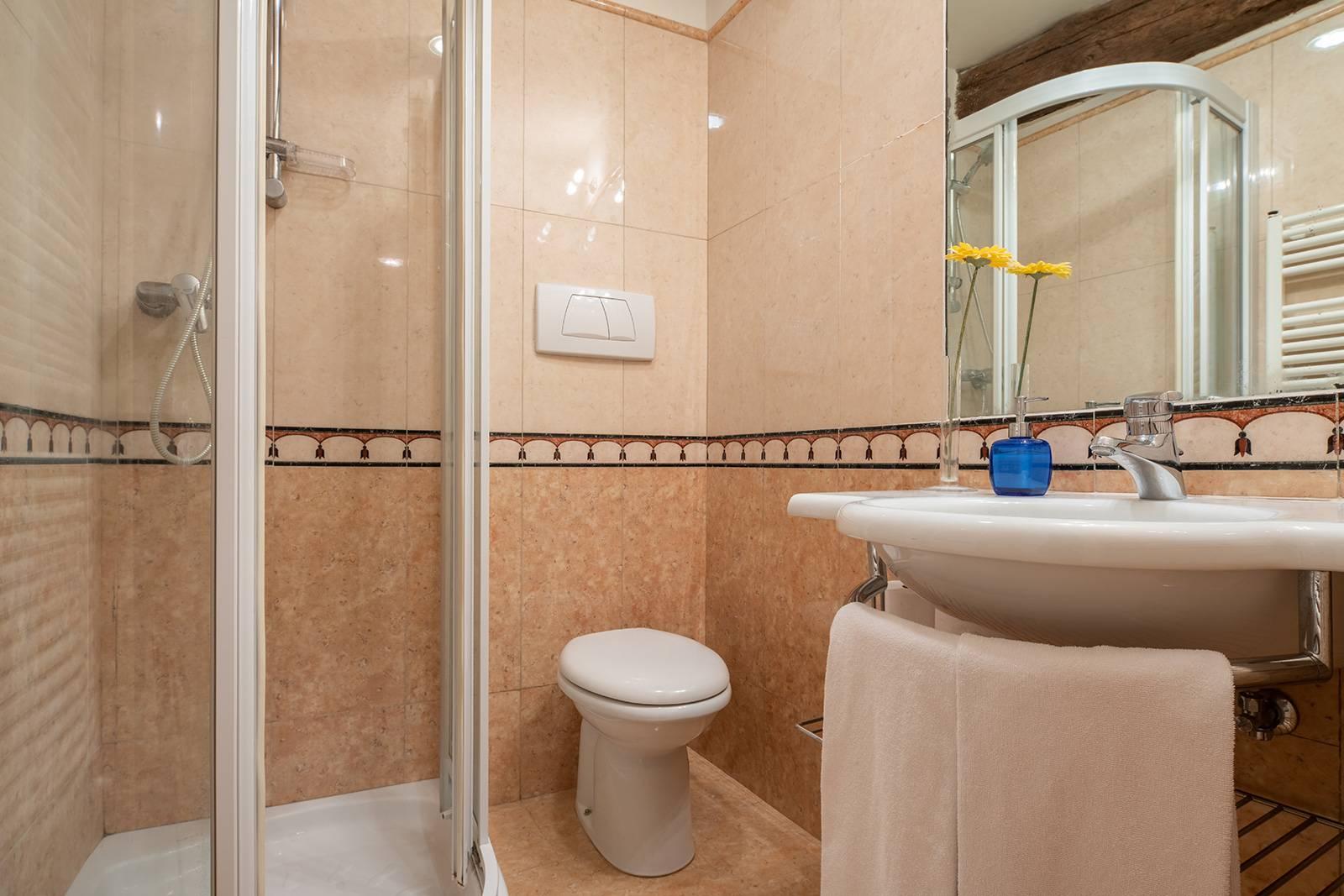 nice bathroom with shower box