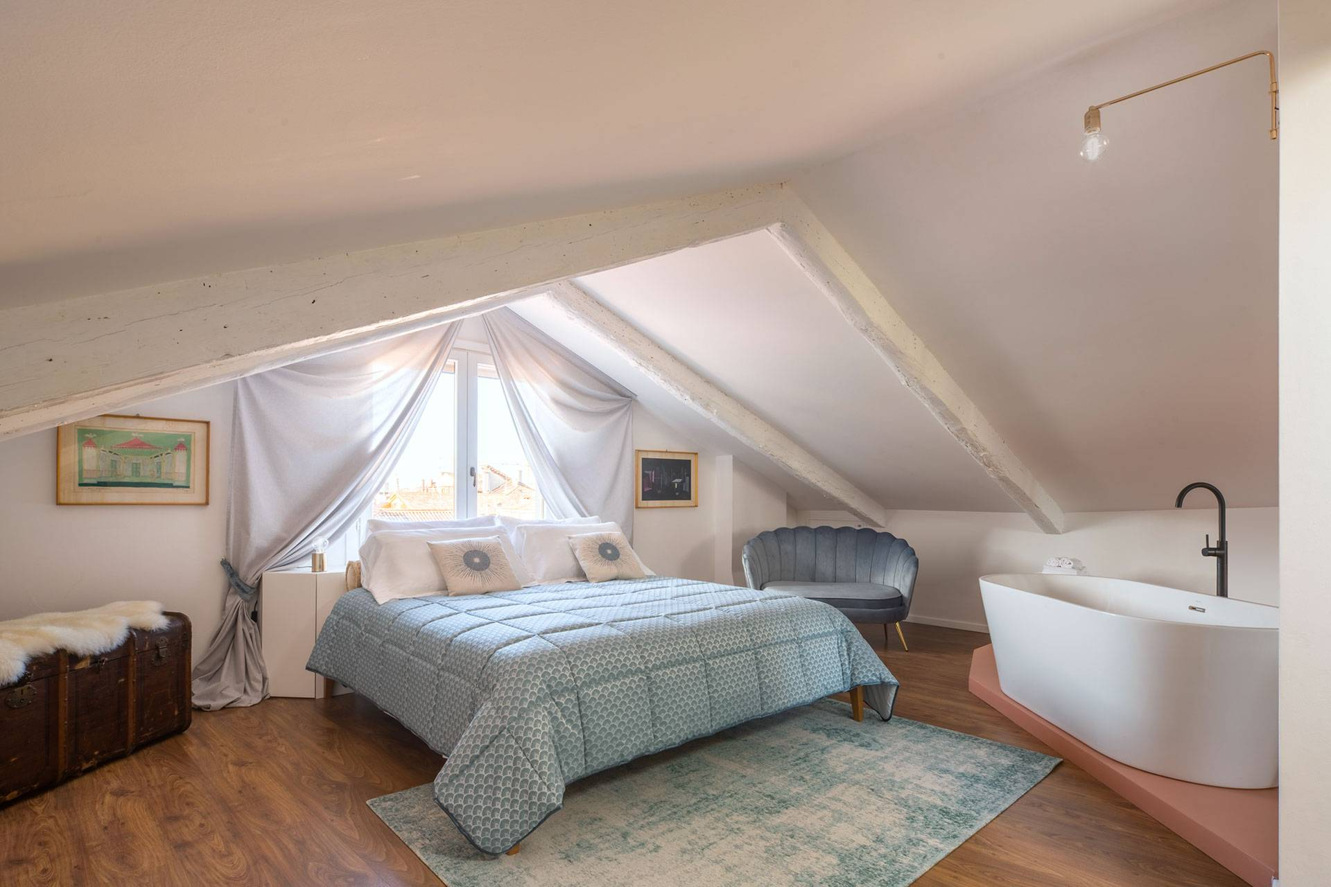 the bedroom in the loft in the attic level is our favourite room