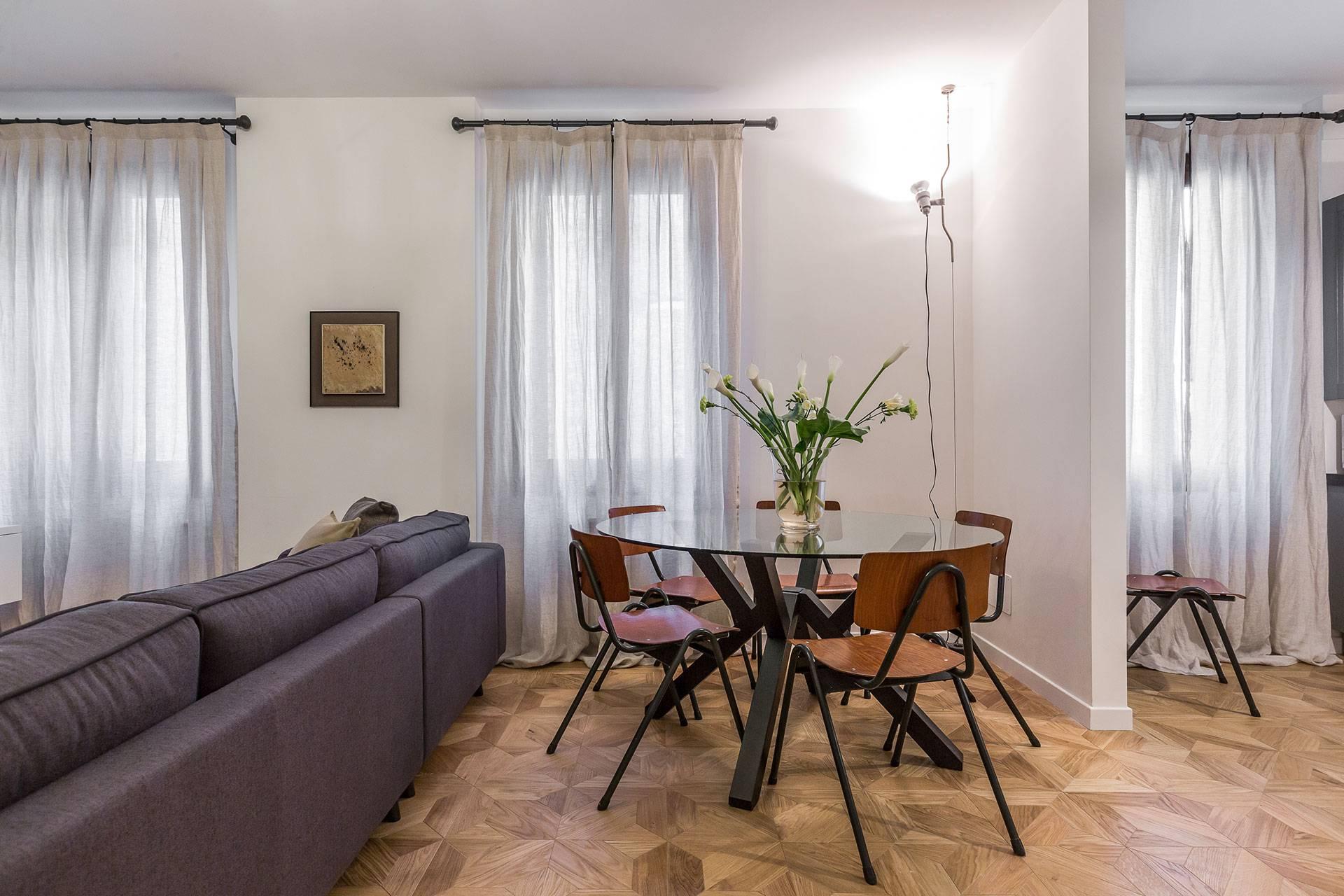 designer furniture on nice parquet flooring and smooth textiles