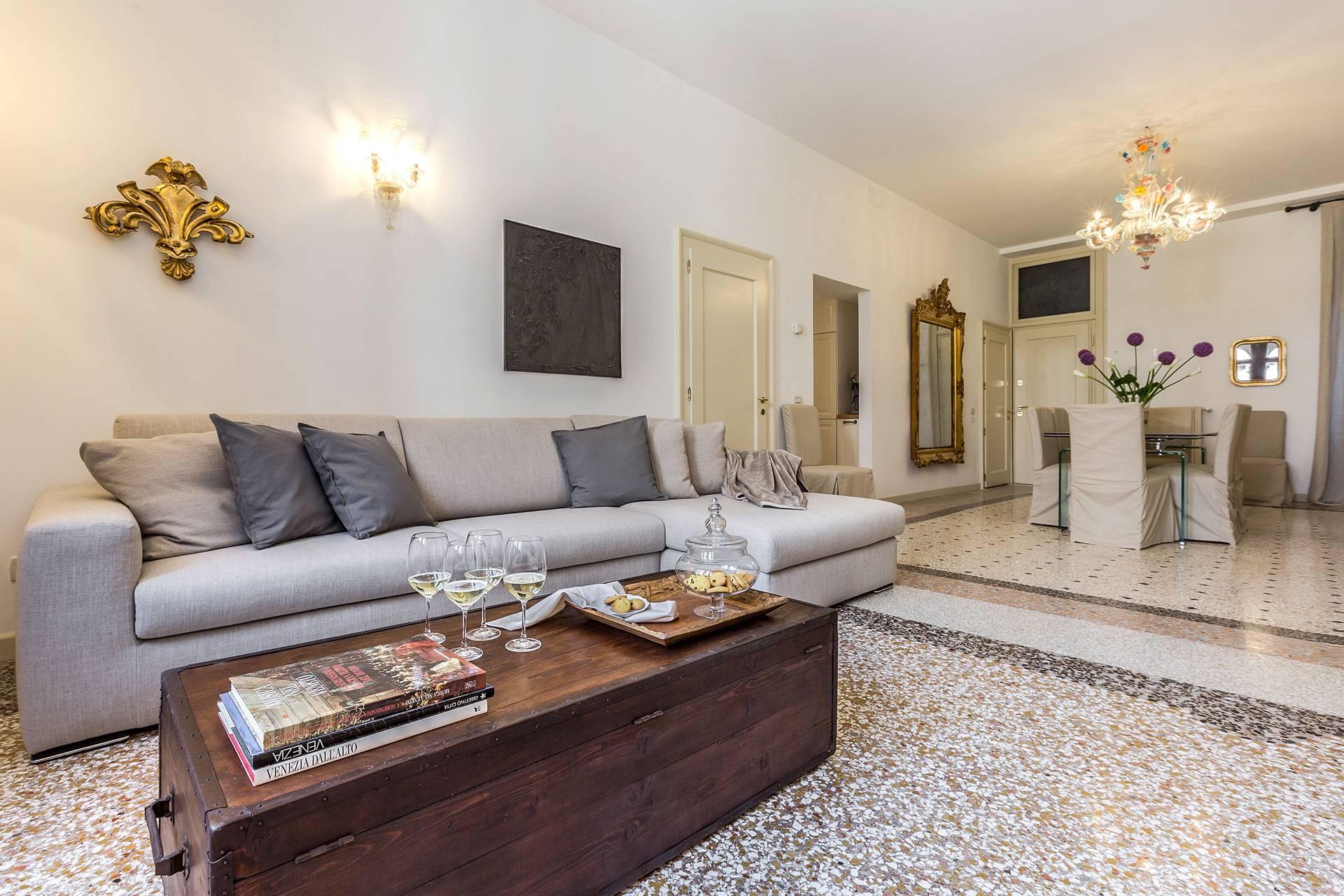 very spacious living / dining room with original Terrazzo Veneziano flooring