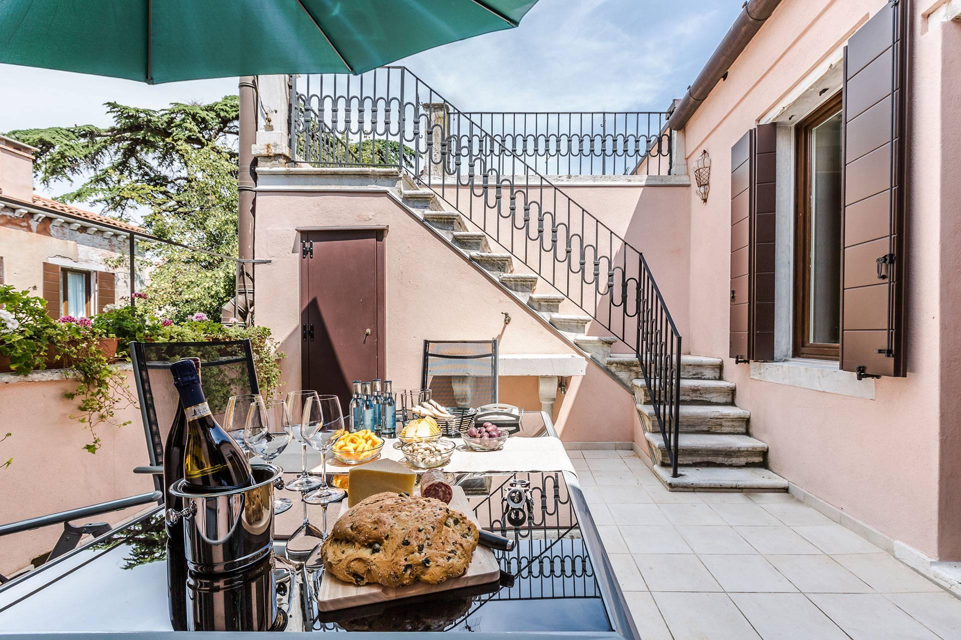 the beautiful shared terrace