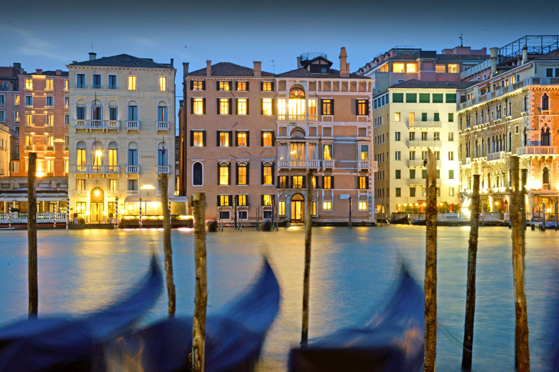 View of Palazzo Barozzi and the Grand Canal at night